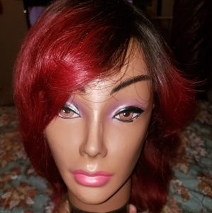 100% human hair Black, Red Ombre Wig